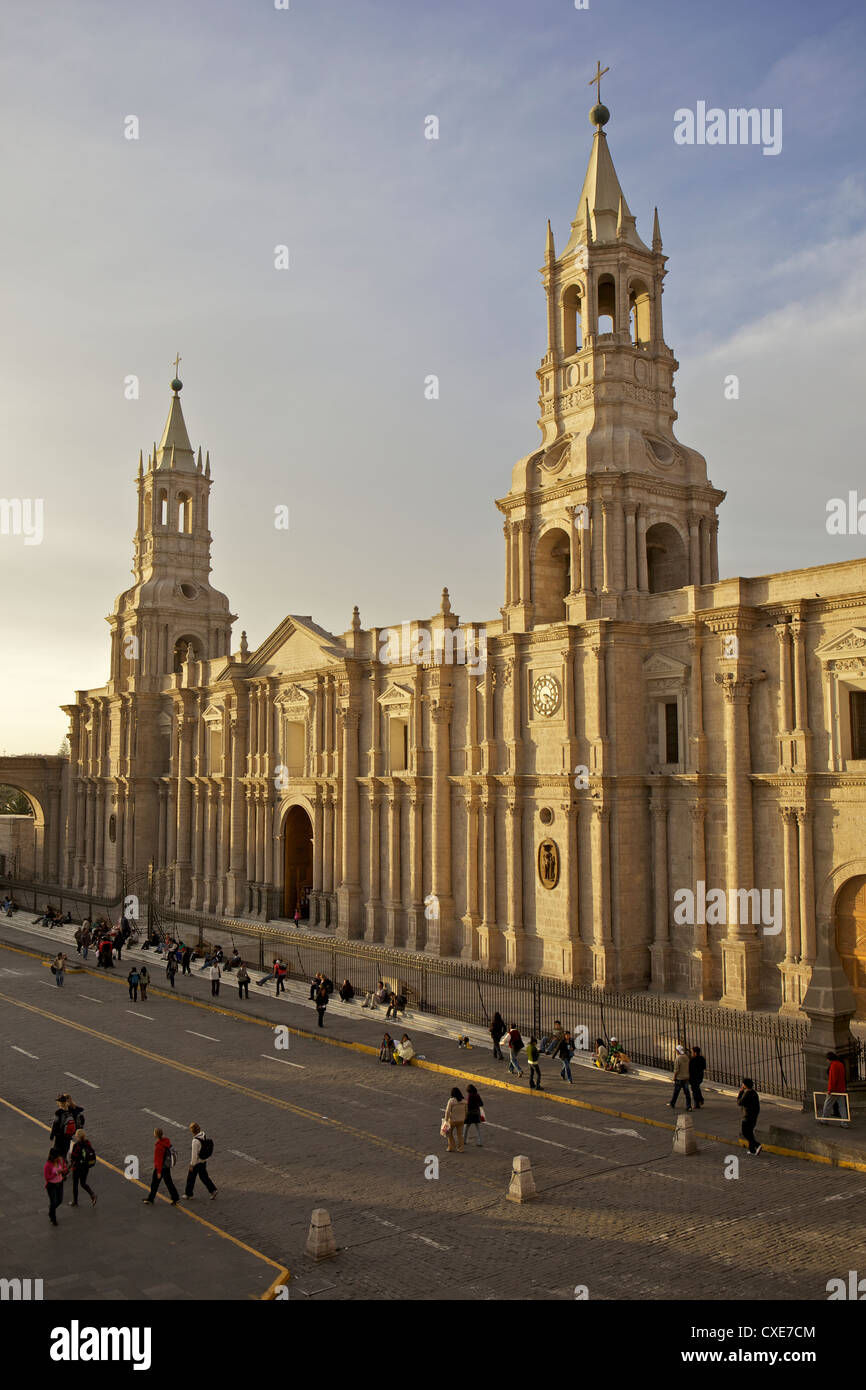 View of Arequipa Cathedral, Plaza de Armas, Arequipa, peru, South America Stock Photo