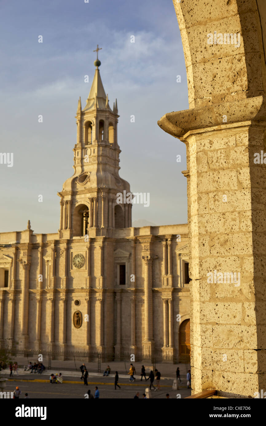 Partial arch overlooking Arequipa Cathedral, Arequipa, peru, South America - Stock Image
