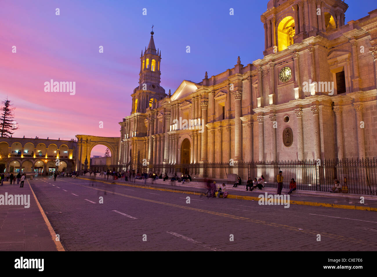 Arequipa Cathedral, Plaza de Armas, Arequipa, peru, South America Stock Photo