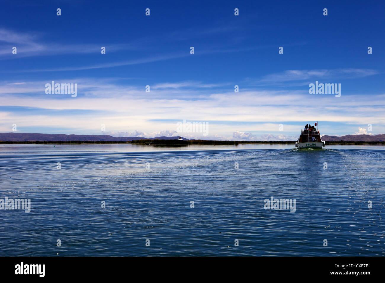Boat on Lake Titicaca, peru, peruvian, south america, south american, latin america, latin american South America - Stock Image