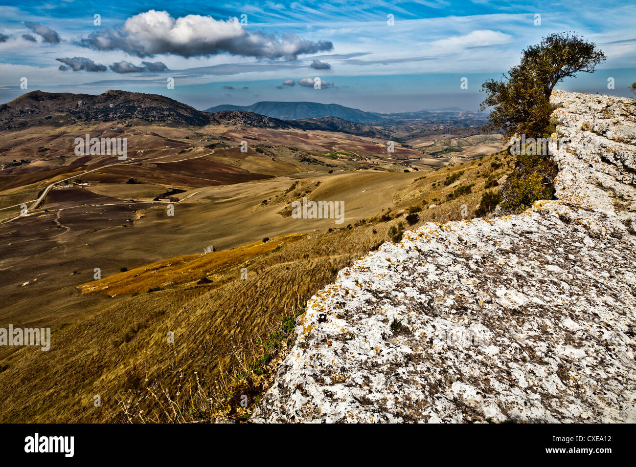 View from the site of Acinipo (Ronda La Vieja) near Ronda, Andalucia, Spain, Europe - Stock Image