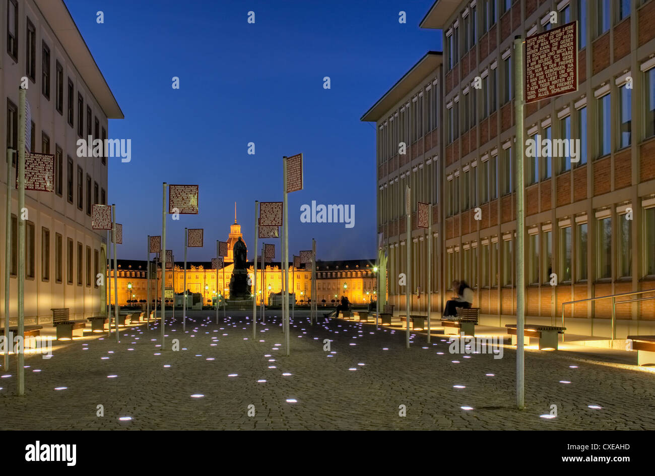 Karlsruhe - the place of fundamental rights for the evening overlooking the castle - Stock Image
