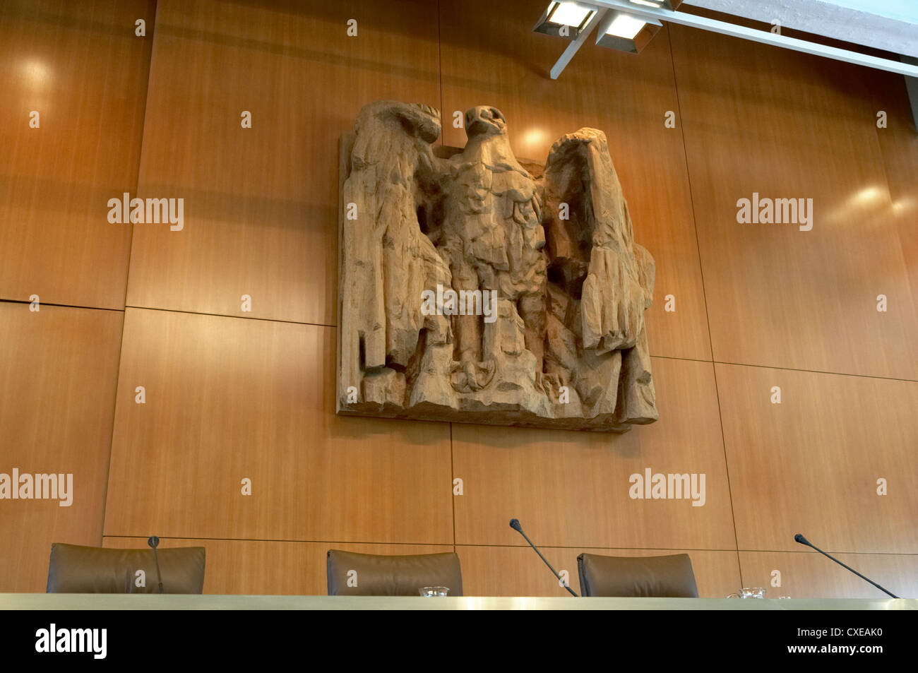 Karlsruhe, Germany - German eagle and the bench in the Federal Constitutional Court Stock Photo