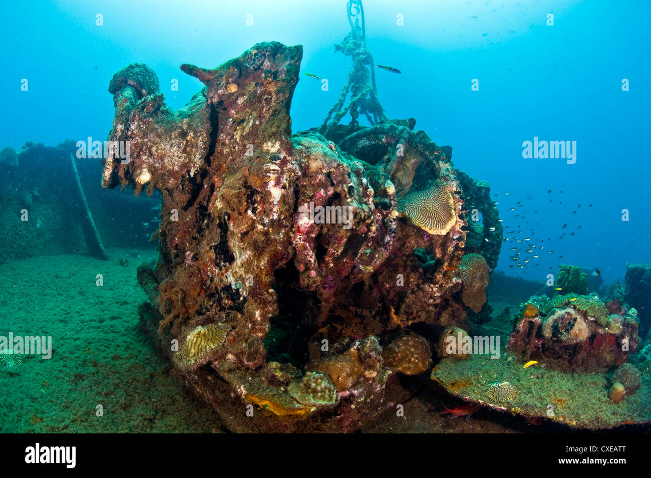 Gear on the deck of the wreck of the Lesleen M, a freighter sunk as an artificial reef in 1985 off Anse Cochon Bay, - Stock Image