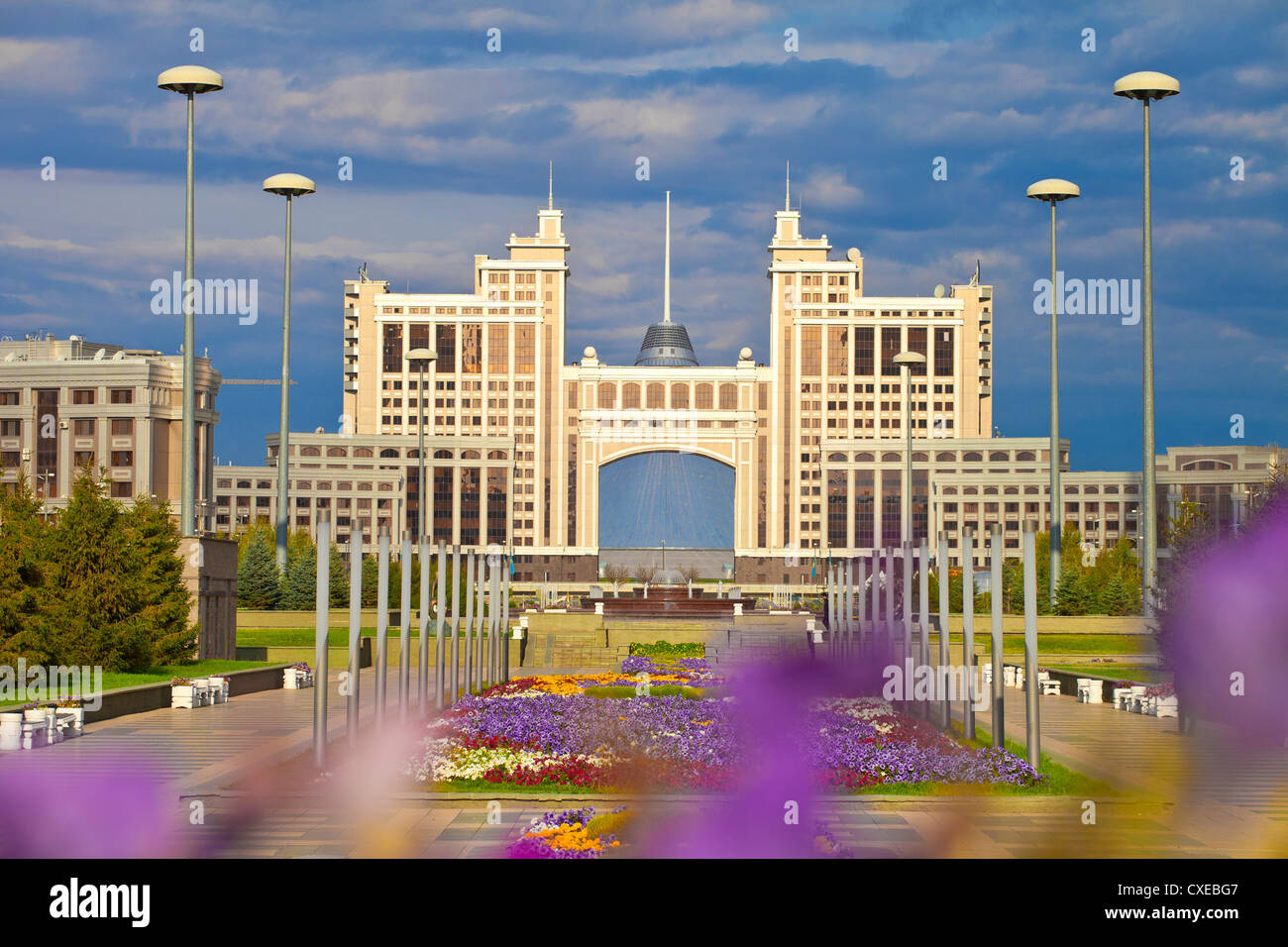 KazMunaiGas building, with Khan Shatyr shopping and entertainment center behind, Astana, Kazakhstan - Stock Image