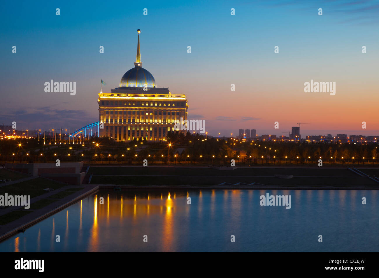 The Ak Orda, Presidential Palace of President Nursultan Nazarbayev at dawn, Astana, Kazakhstan, Central Asia, Asia - Stock Image