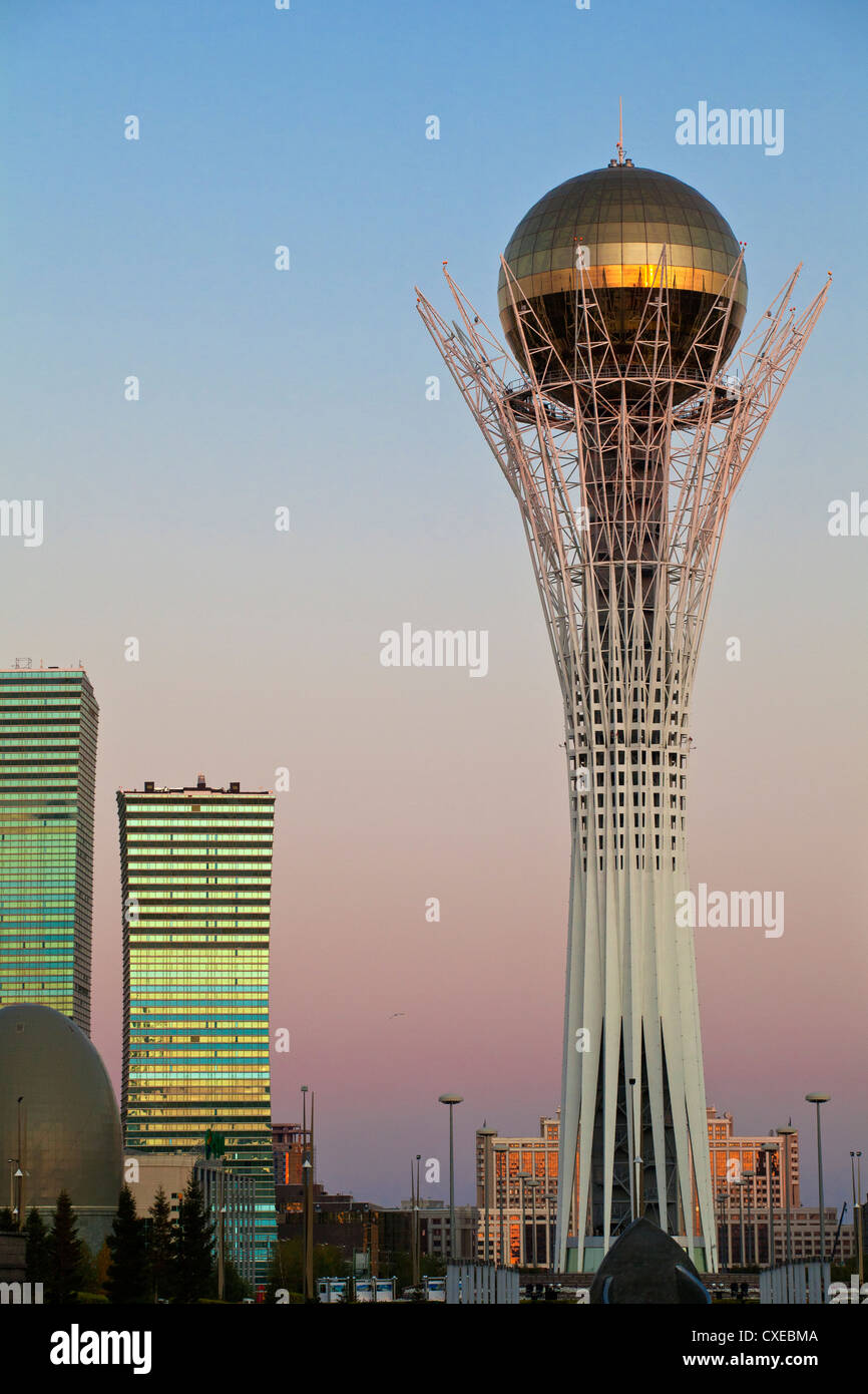 Bayterek Tower at dawn, Astana, Kazakhstan, Central Asia, Asia - Stock Image