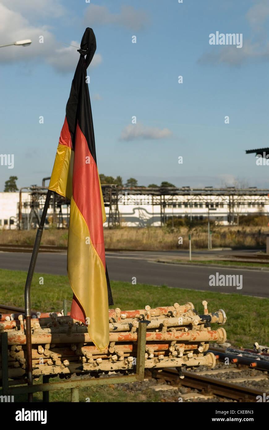 Guben, flag and blocked rails - Stock Image