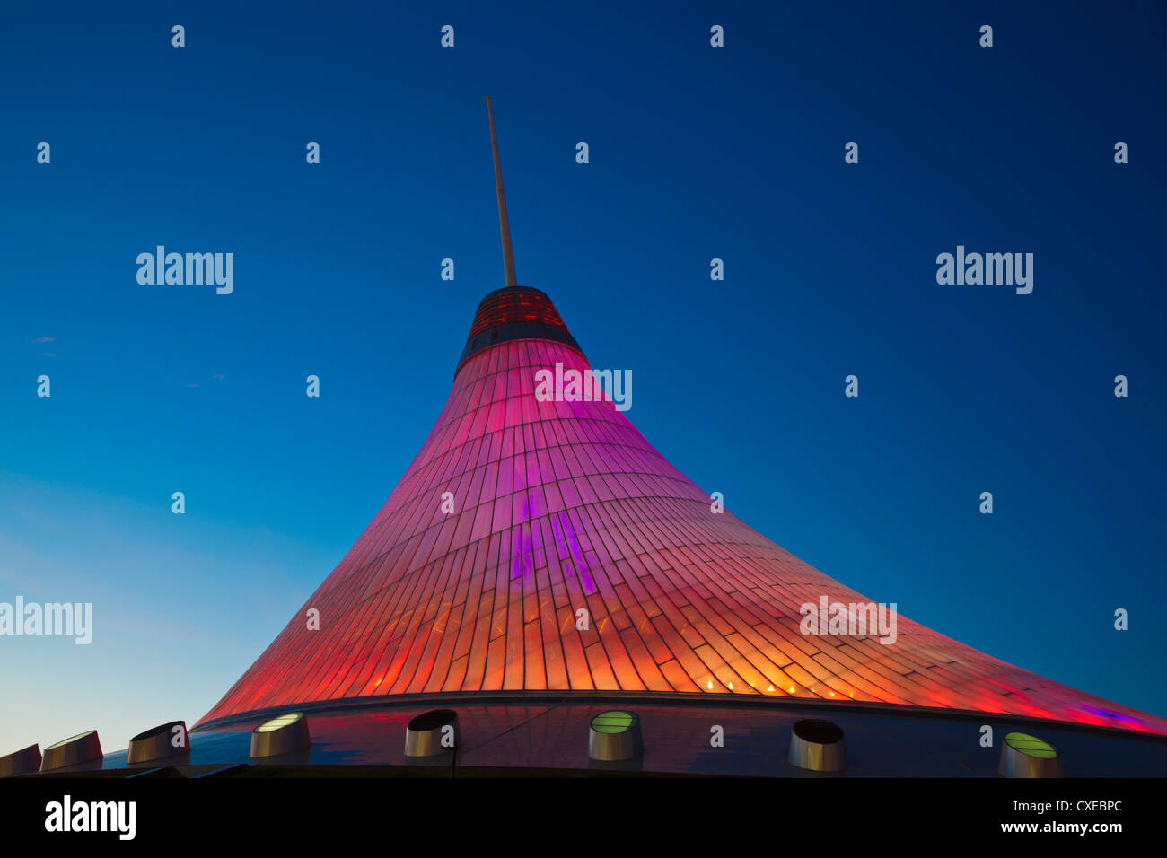 Khan Shatyr shopping and entertainment center at night, Astana, Kazakhstan, Central Asia, Asia - Stock Image
