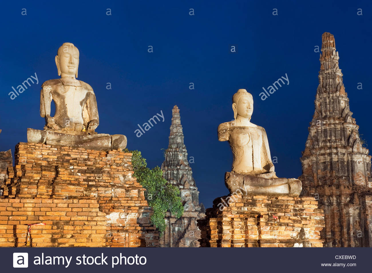 Old Buddhist statues, Ayutthaya, UNESCO World Heritage Site, Thailand, Southeast Asia, Asia - Stock Image