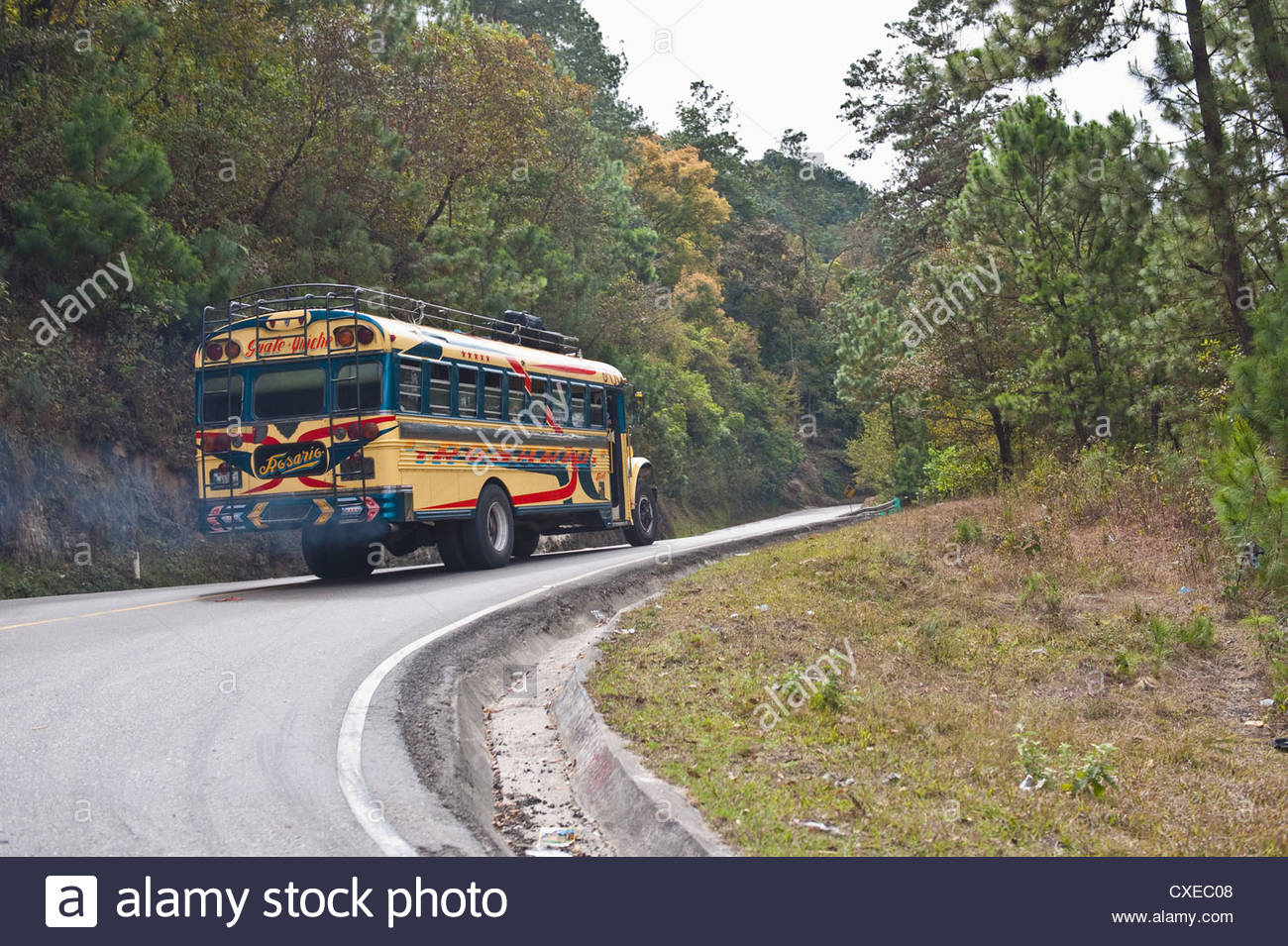 Chicken bus on way to Chichicastenango, Guatemala, Central America - Stock Image