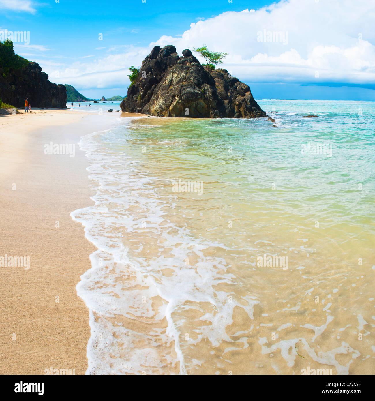 Beautiful clear water at Kuta Beach, Kuta Lombok, South Lombok, Indonesia, Southeast Asia, Asia - Stock Image