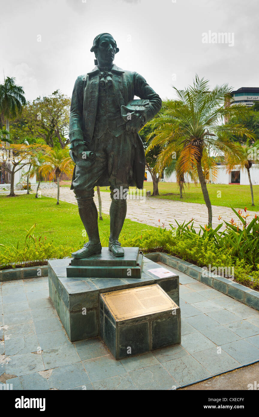 Captain Francis Light statue at Fort Cornwallis in Georgetown, Penang, Malaysia, Southeast Asia, Asia - Stock Image