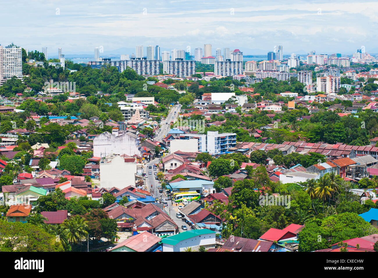 Aerial view over Georgetown from Kek Lok Si Temple, Penang, Malaysia, Southeast Asia, Asia - Stock Image