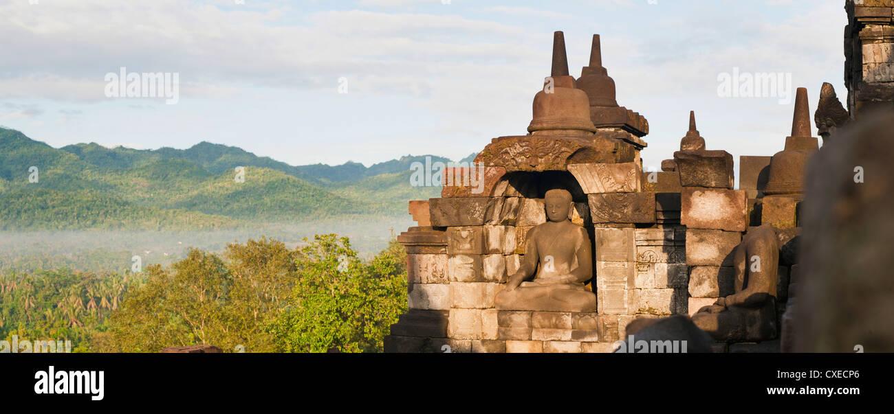 Buddha panorama, Borobudur Temple, UNESCO World Heritage Site, Java, Indonesia, Southeast Asia, Asia - Stock Image
