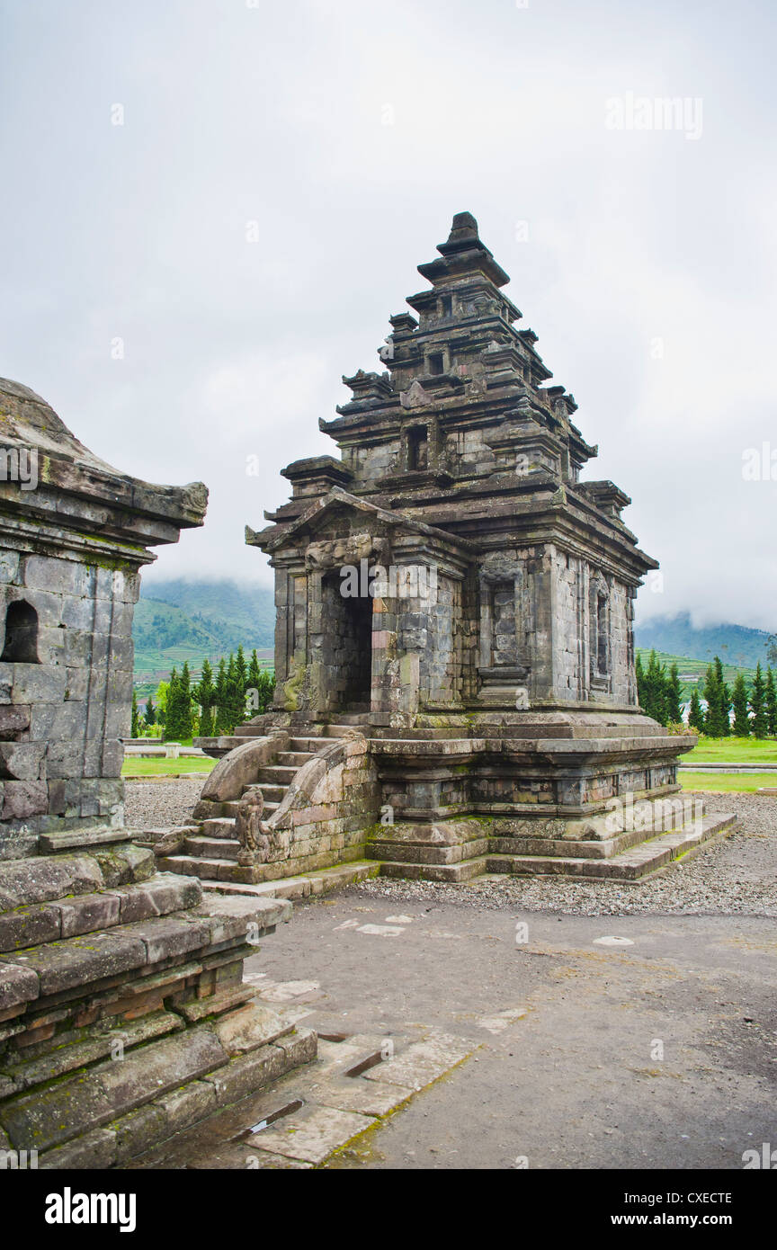 Temple at Candi Arjuna Hindu Temple Complex, Dieng Plateau, Central Java, Indonesia, Southeast Asia, Asia - Stock Image