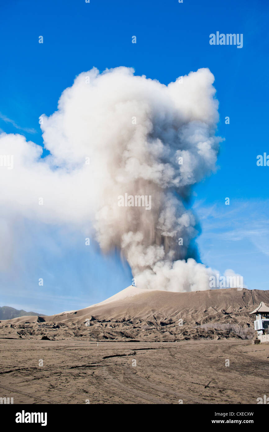 Mount Bromo volcanic eruption sending up an ash cloud, East Java, Indonesia, Southeast Asia, Asia - Stock Image