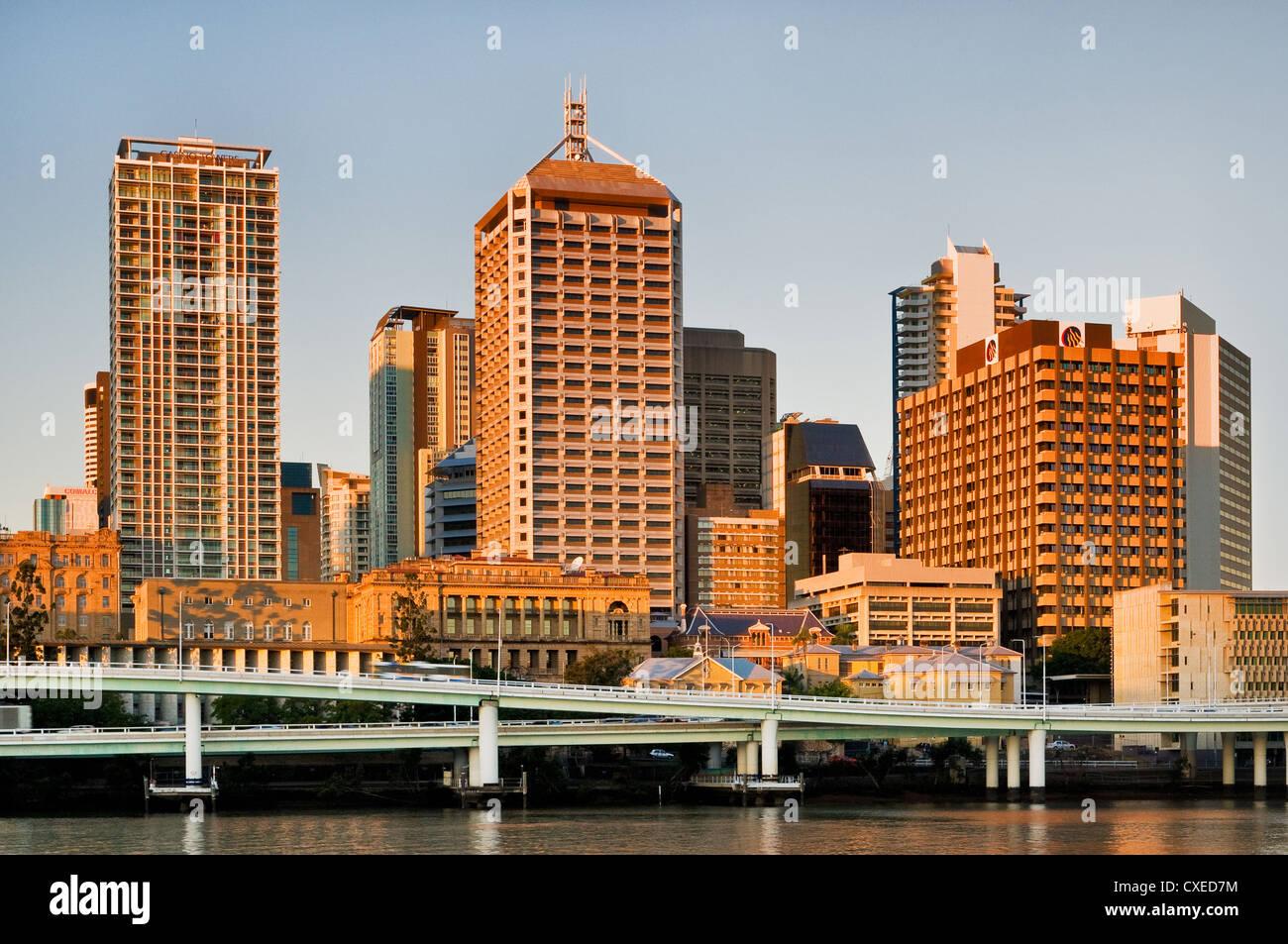 Skyline of Brisbane in evening light. - Stock Image