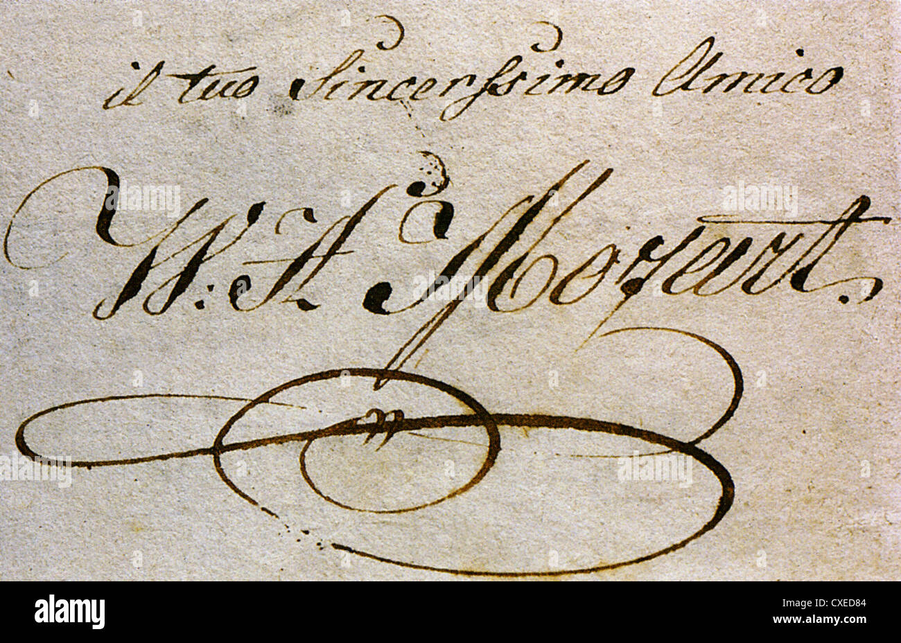 WOLFGANG AMADEUS MOZART (1756-1791) autograph 'from your sincere friend' - Stock Image