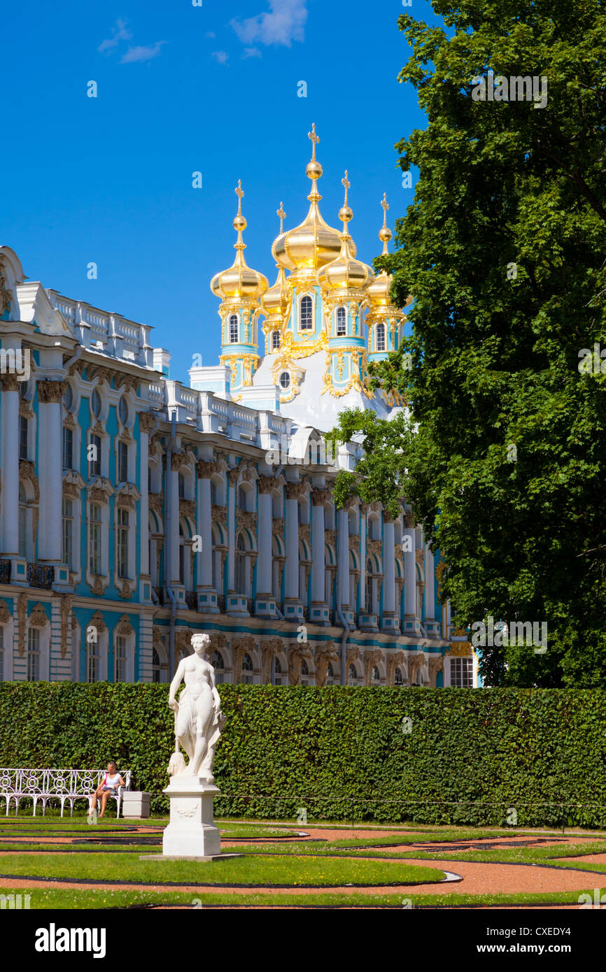Catherine Palace the Rococo summer residence of the Russian tsars located in the town of Tsarskoye Selo (Pushkin) - Stock Image