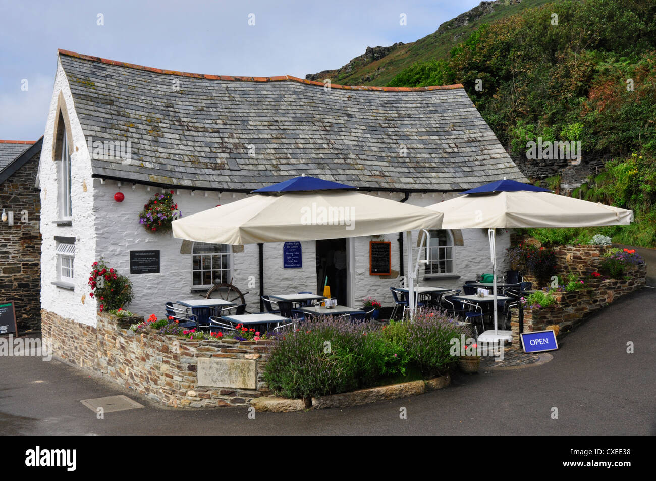 North Cornwall - Boscastle village - the Harbour Light cafe - completely rebuilt after the  August 2004 flood Stock Photo