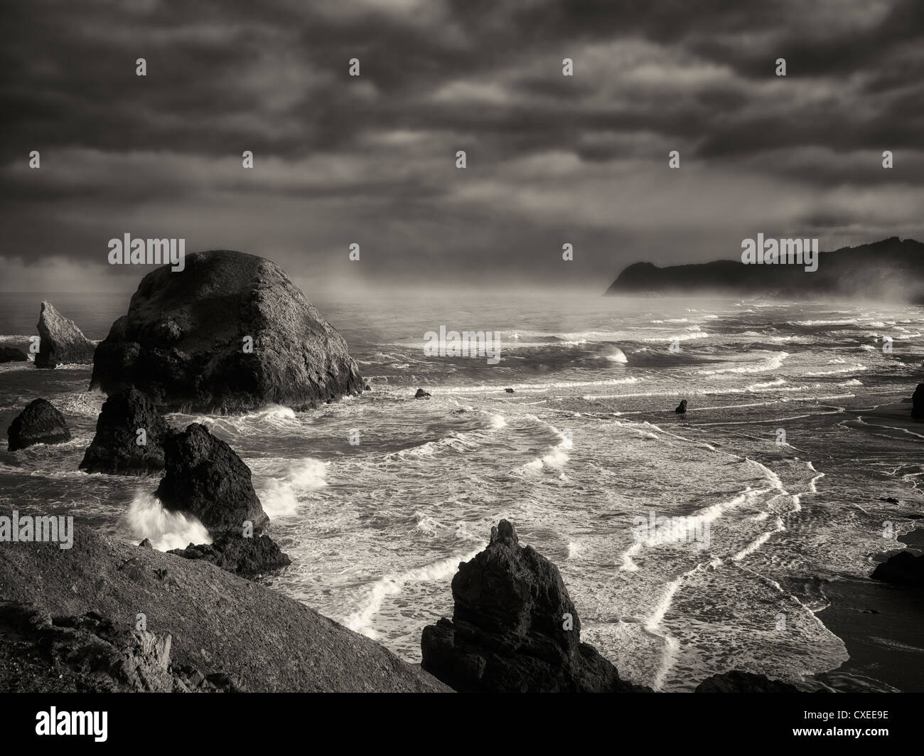 Oregon coastline at sunrise, near Crook Point. - Stock Image