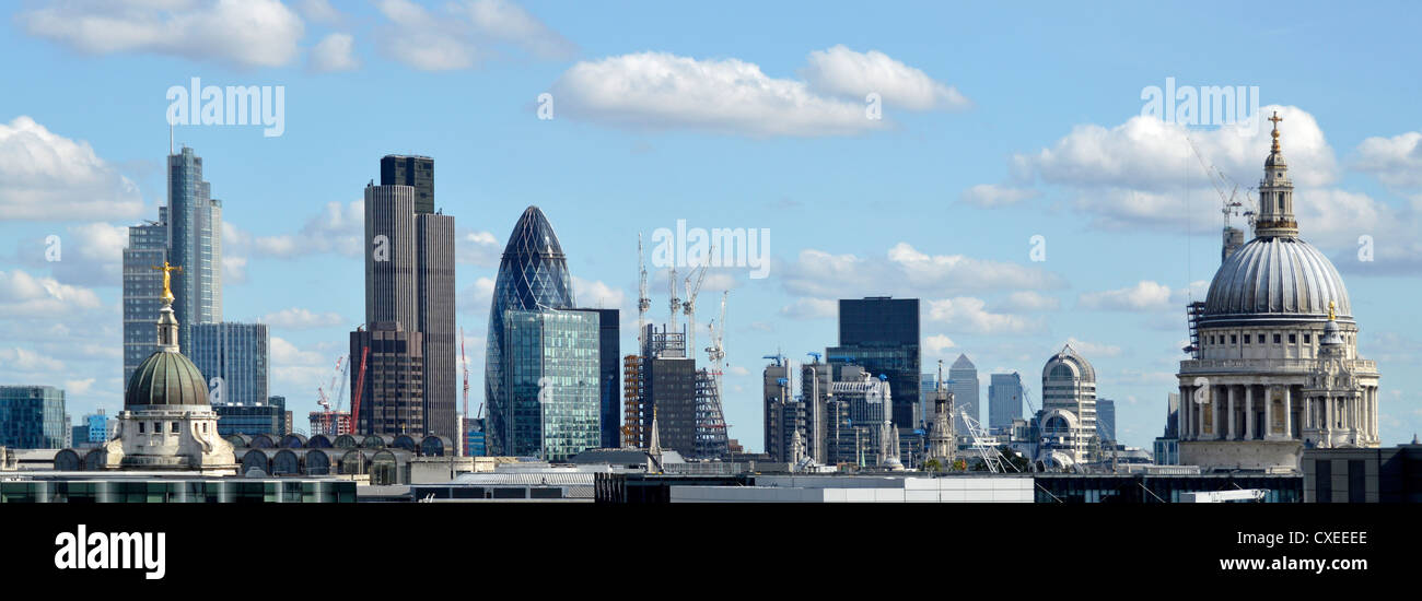 Panoramic urban landscape City of London skyline buildings including Tower 42, Gherkin, Lloyds, Canary Wharf distant, Stock Photo