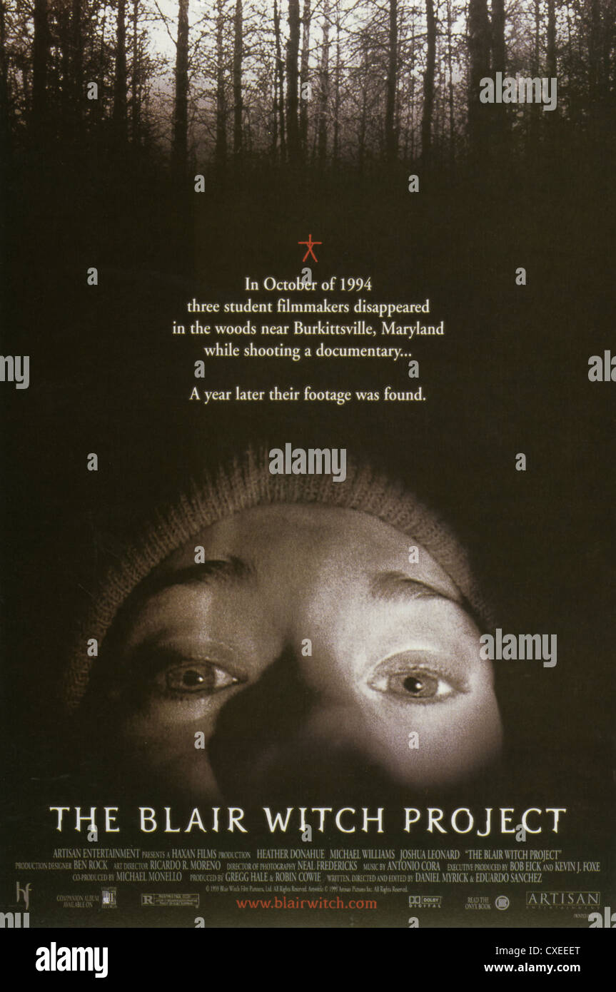 THE BLAIR WITCH PROJECT Poster for 1999 Haxan Films production Stock Photo