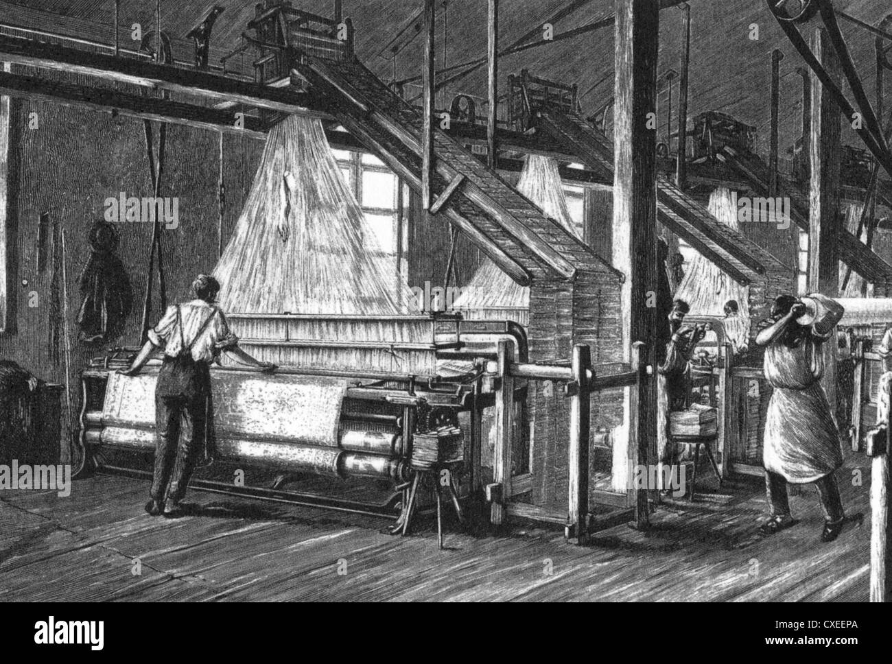 POWERED WEAVING MILL in Lancashire about 1850 - Stock Image