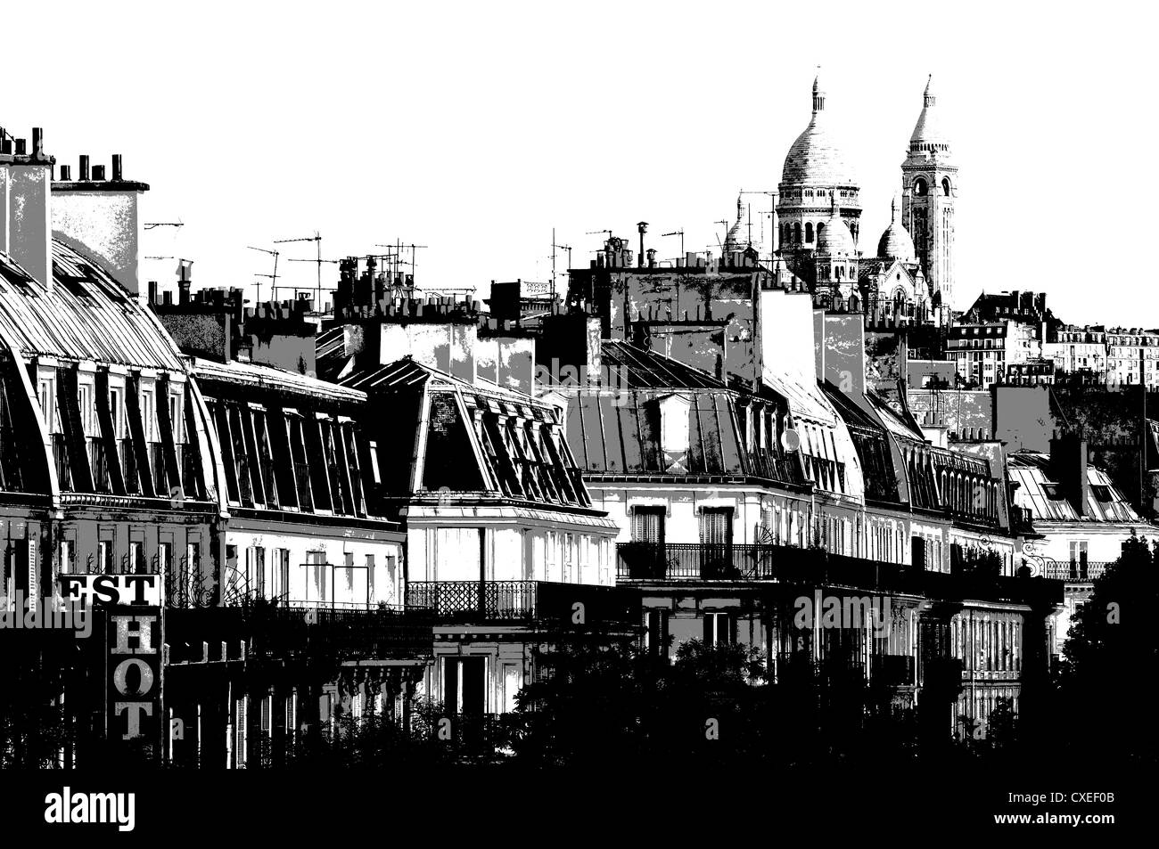 Paris, France. Sacre-Coeur and rooftops along Boulevard de Magenta. Posterized black and white - Stock Image