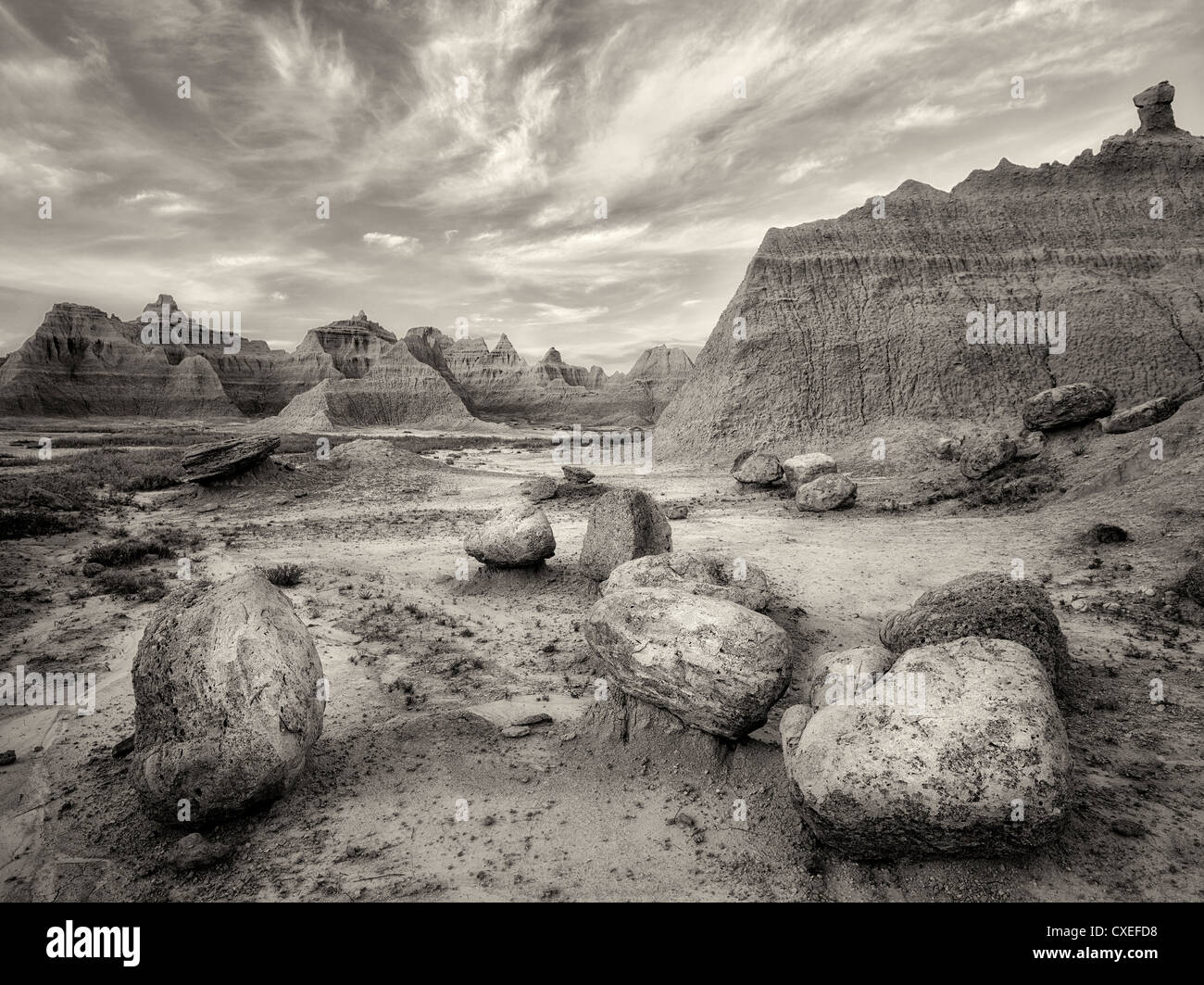 Large boulders and rock formations at sunrise. Badlands National Park, South Dakota. - Stock Image
