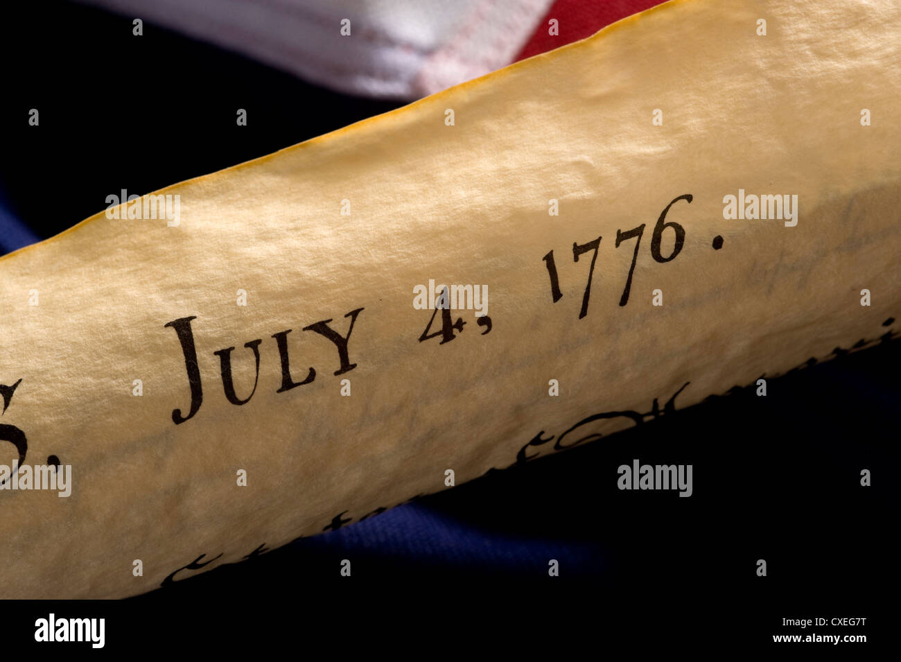 A rolled copy of the Declaration of Independence - Stock Image