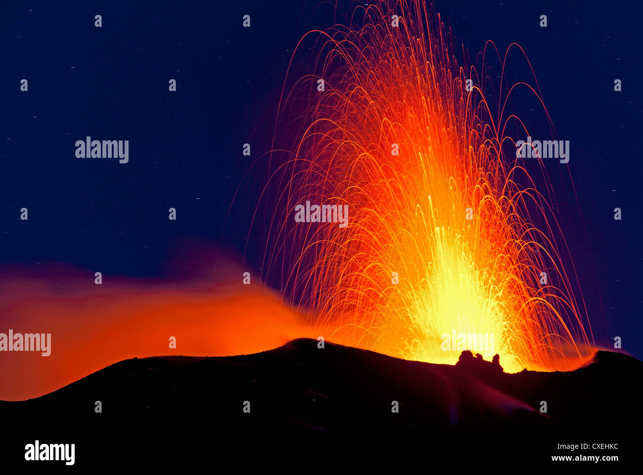 Eruptions of volcano Stromboli, Aeolian Islands, Italy - Stock Image