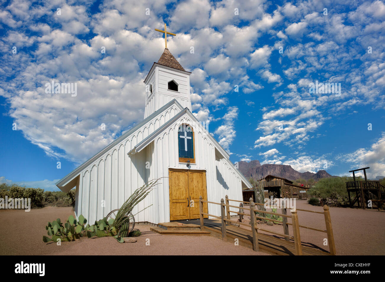 Old West Church in Sperstion Mountains, Arizona - Stock Image