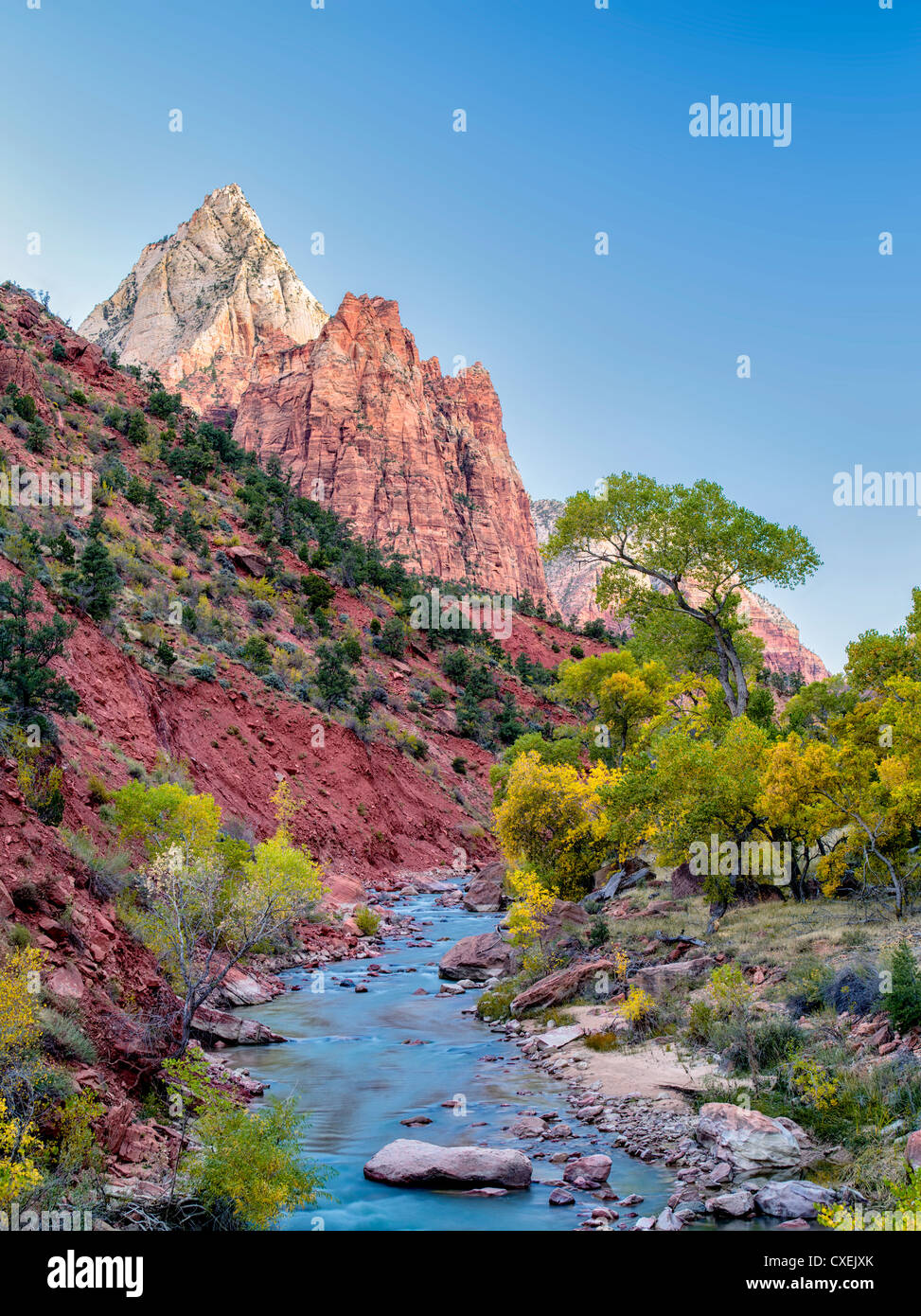 Fall color and Virgin River. Zion National Park, Utah. Sky has been added - Stock Image
