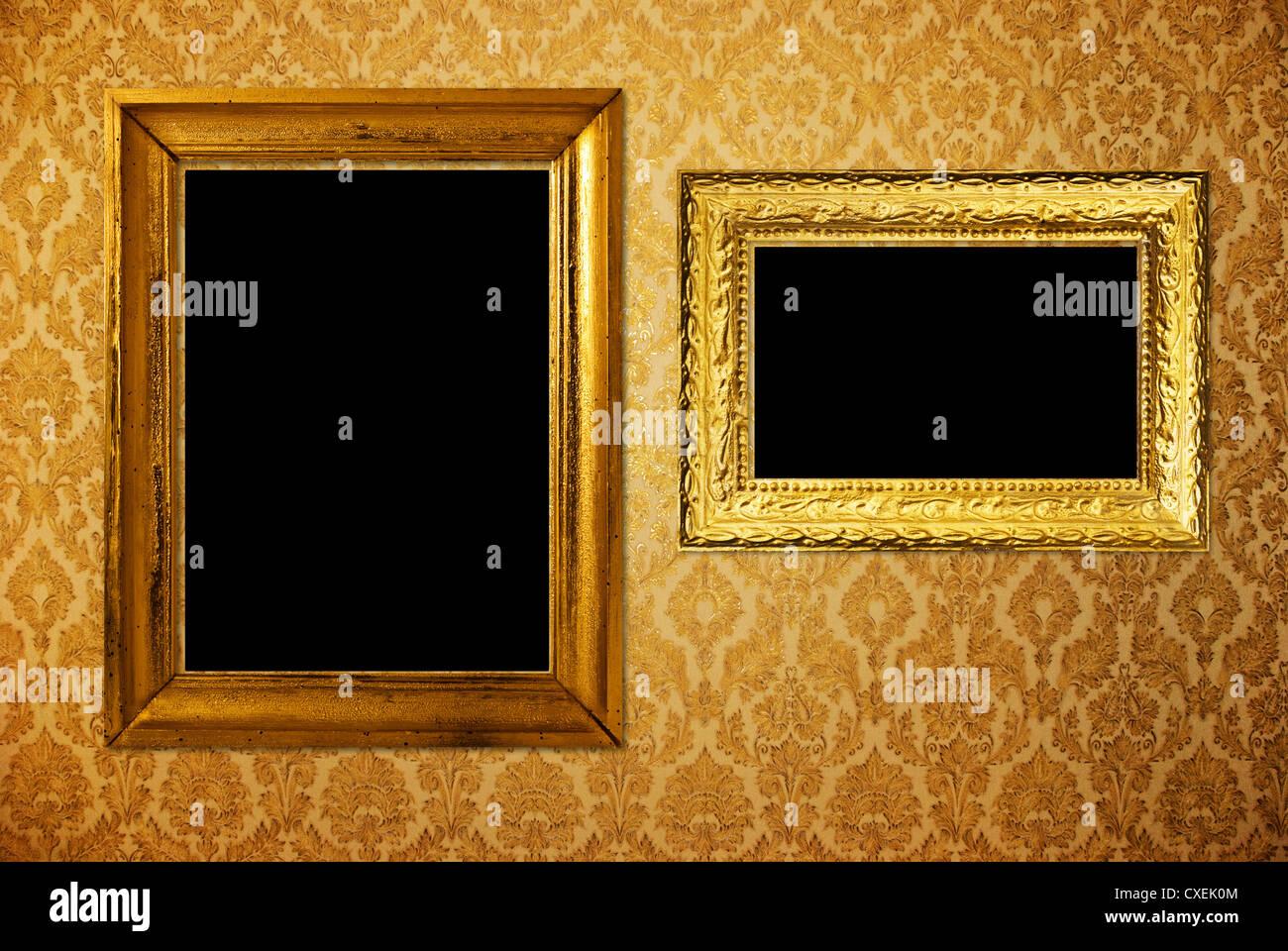 Vintage Frame Over Golden Wallpaper Stock Photo 50724036 Alamy