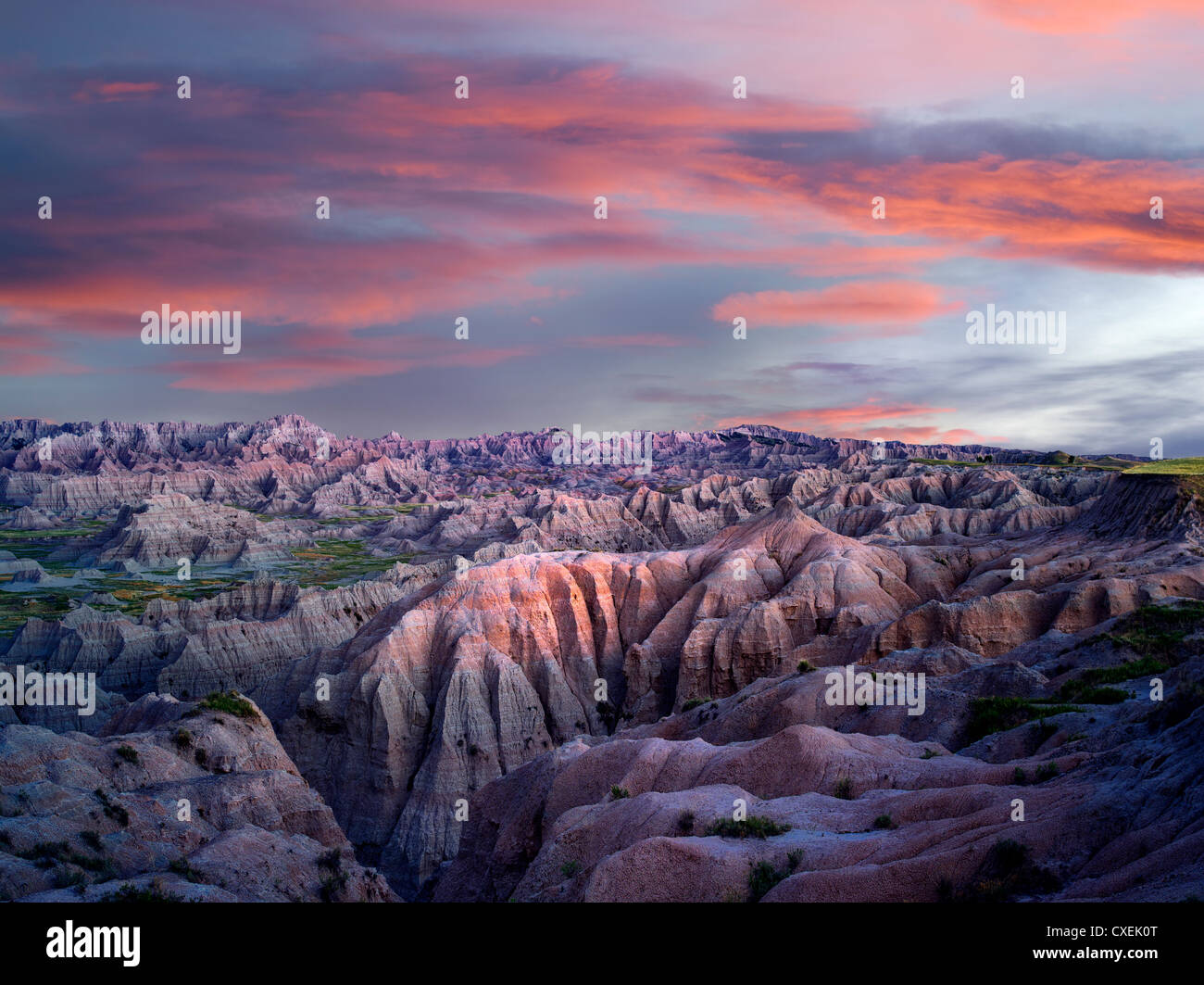 Colorful formations in Badlands National Park, South Dakota - Stock Image