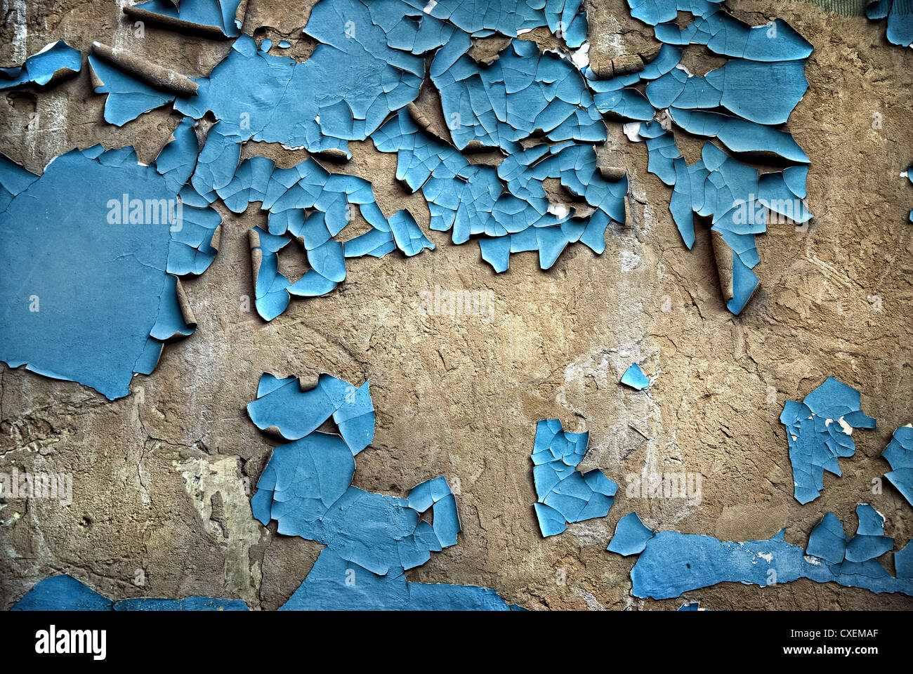 texture of the old stucco wall with cracks - Stock Image