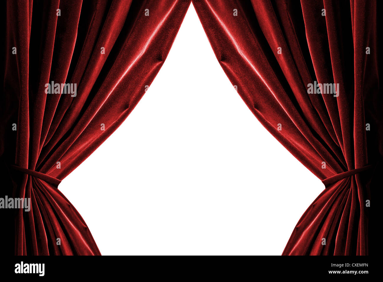 violet curtains isolated on white - Stock Image