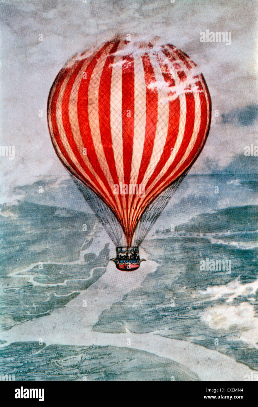 Charles Green's Balloon Trip from London to the Duchy of Nassau in Germany, November 7-8 1836, Illustration - Stock Image