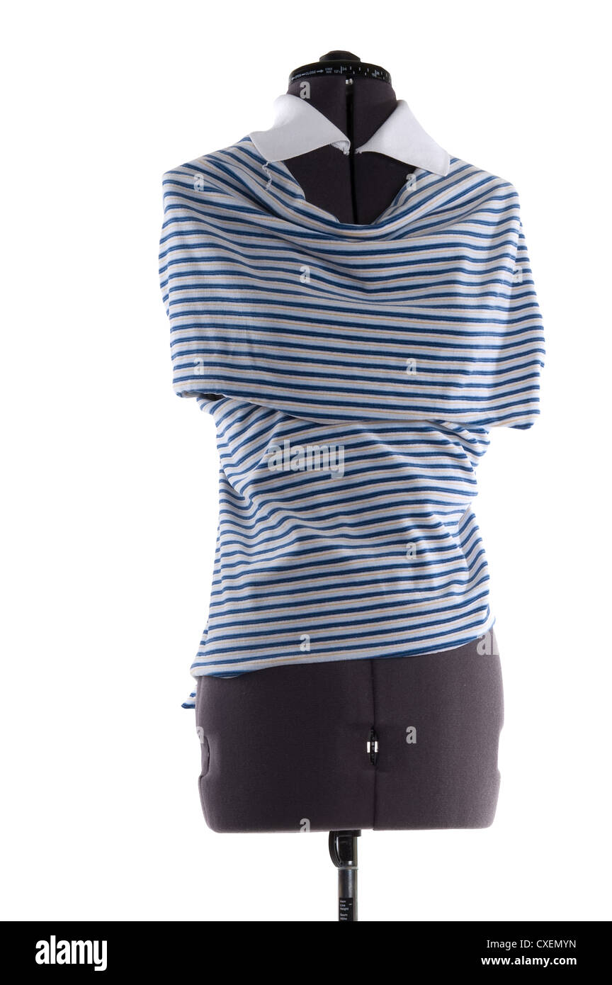 object on white - isolated fabric on a mannequin - Stock Image