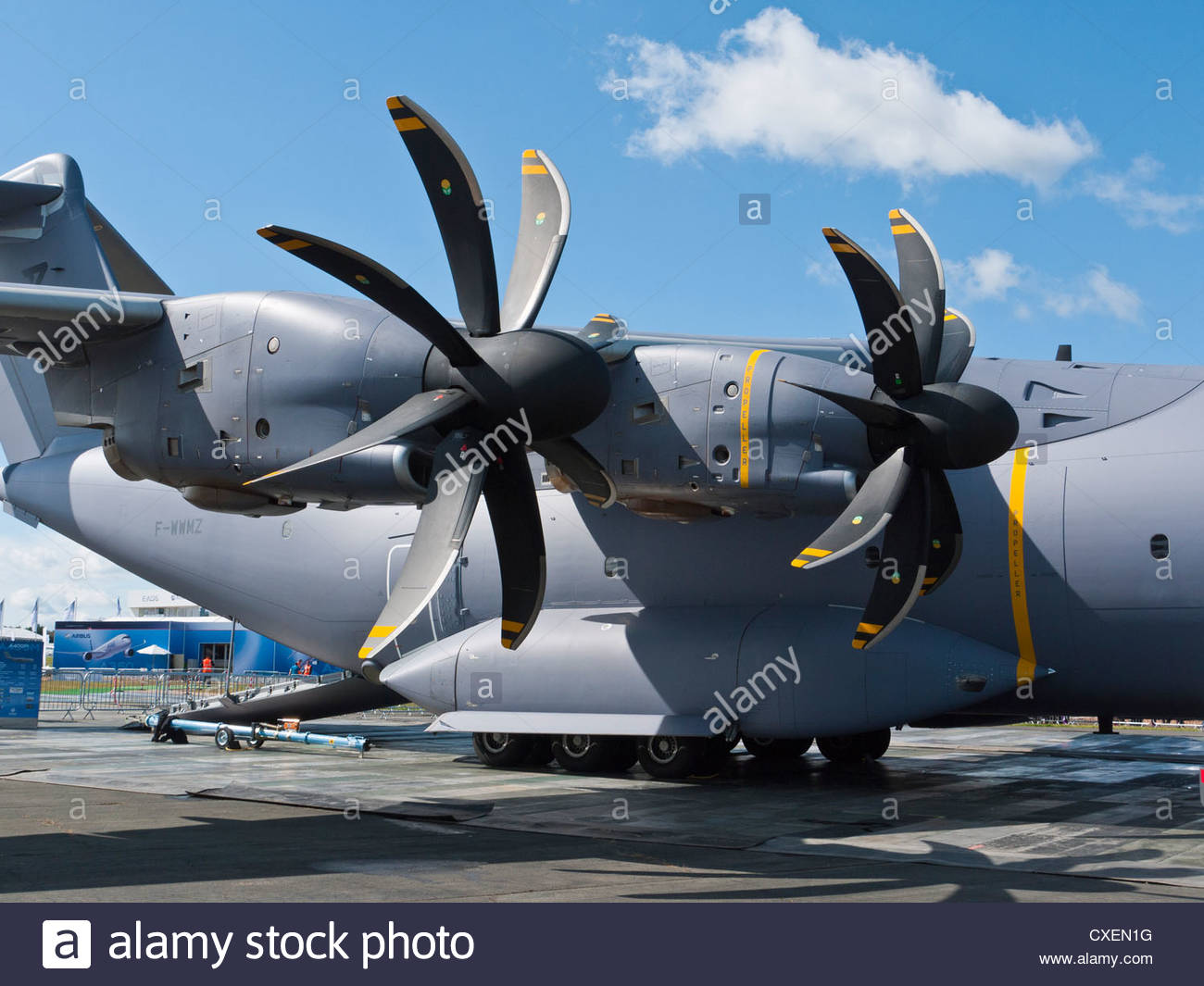 Massive 8 Bladed Turbo Props of Airbus Military A400M USA Farnborough 2012 England - Stock Image