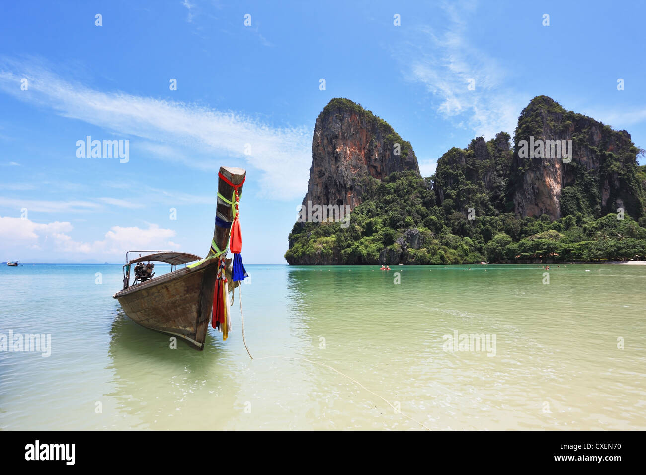 Beautiful, ornate antique boat Longtail - Stock Image