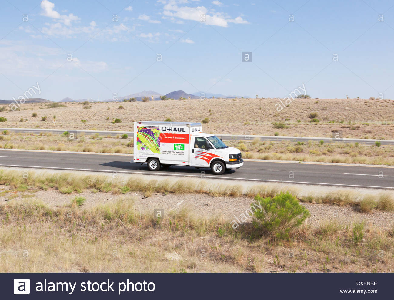 Small U-Haul Truck I-10 southeast Arizona driver passenger visible - Stock Image