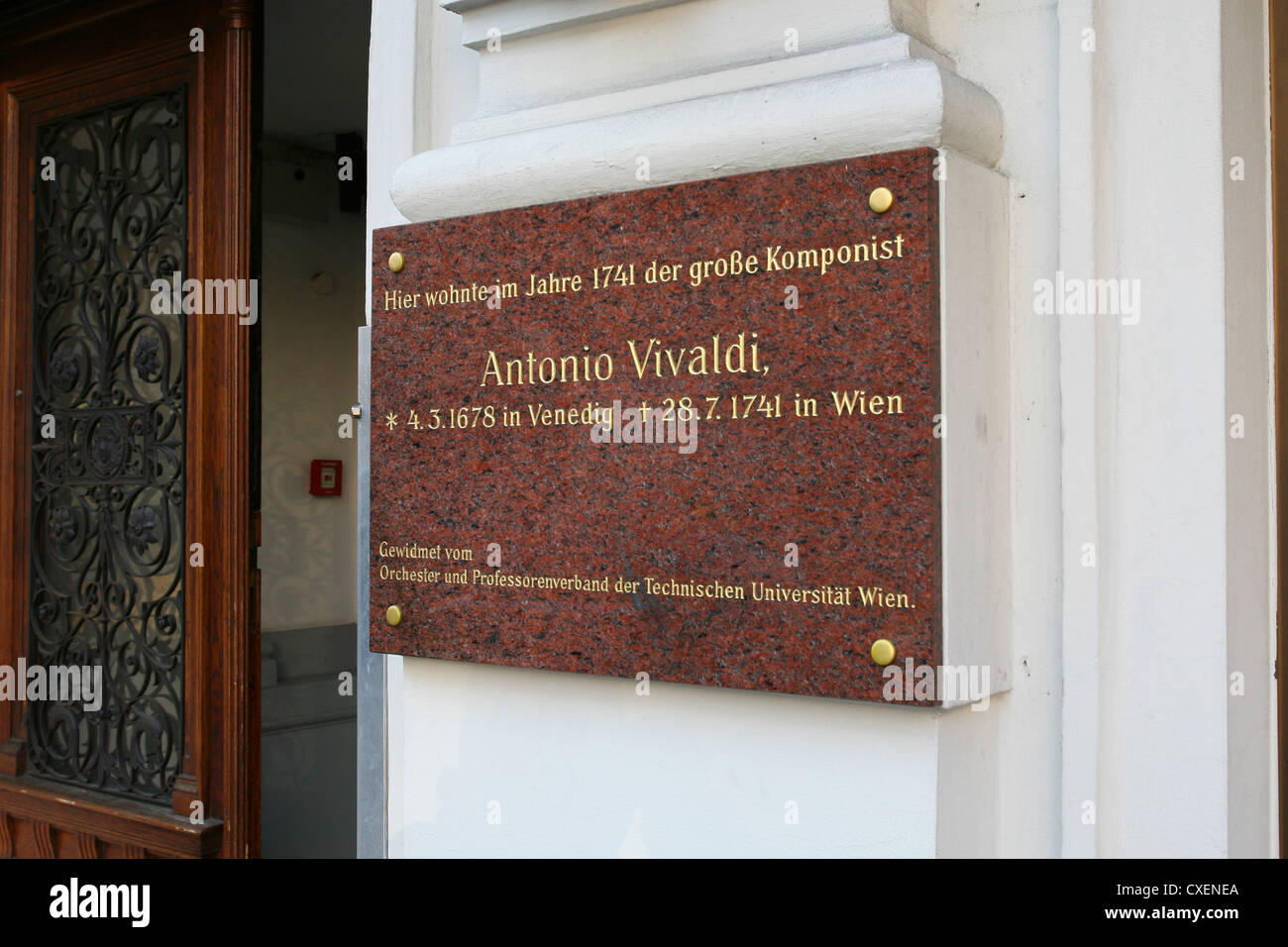 Memorial plate for the Italian composer Antonio Vivaldi, who died in Vienna on the 28.07.1741 - Stock Image