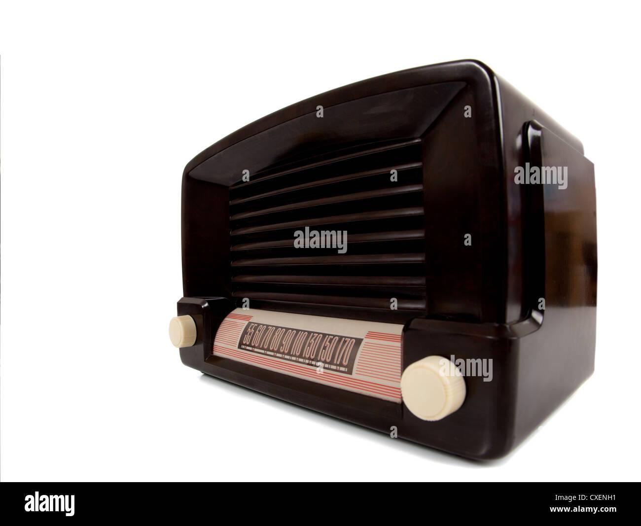An old vintage radio on a white background Stock Photo