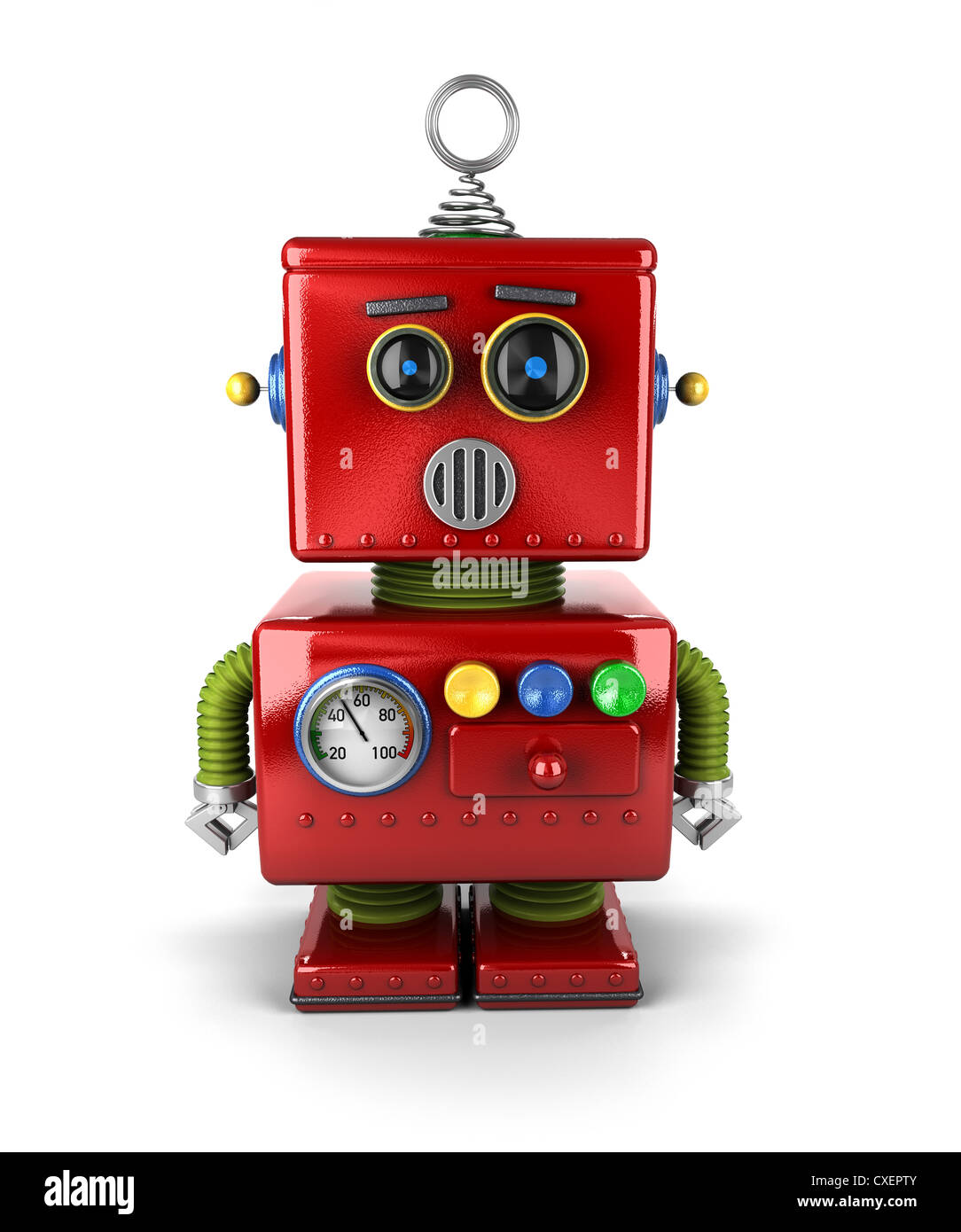 Little vintage toy robot that is surprised - Stock Image