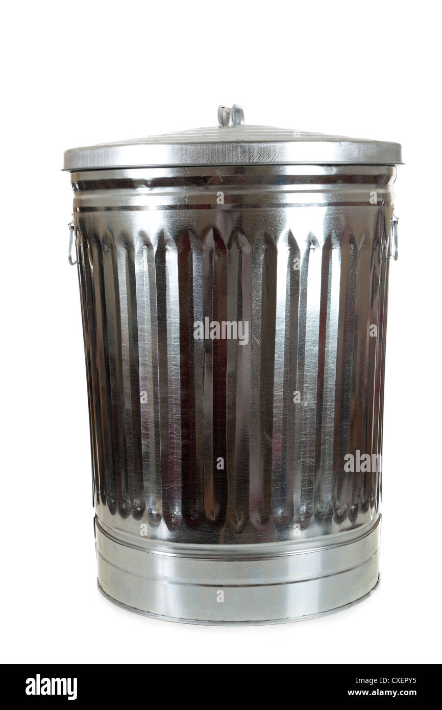 Silver metal aluminum trash can on a white background - Stock Image