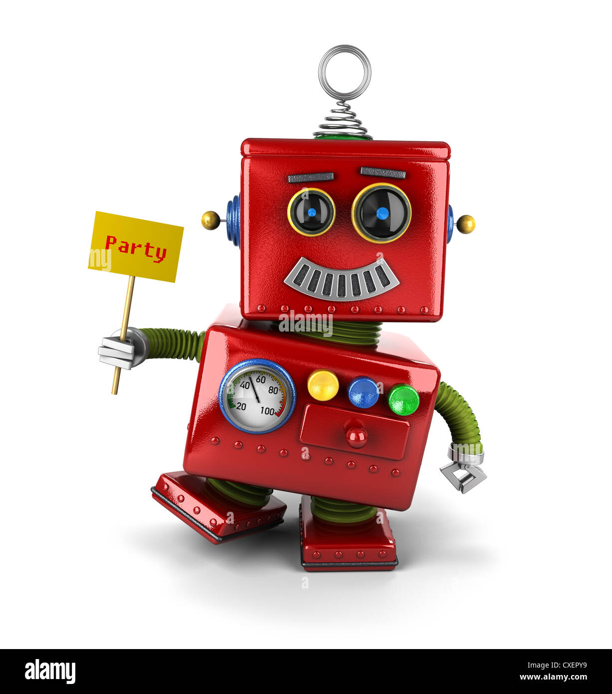 Little happy vintage toy robot - Stock Image