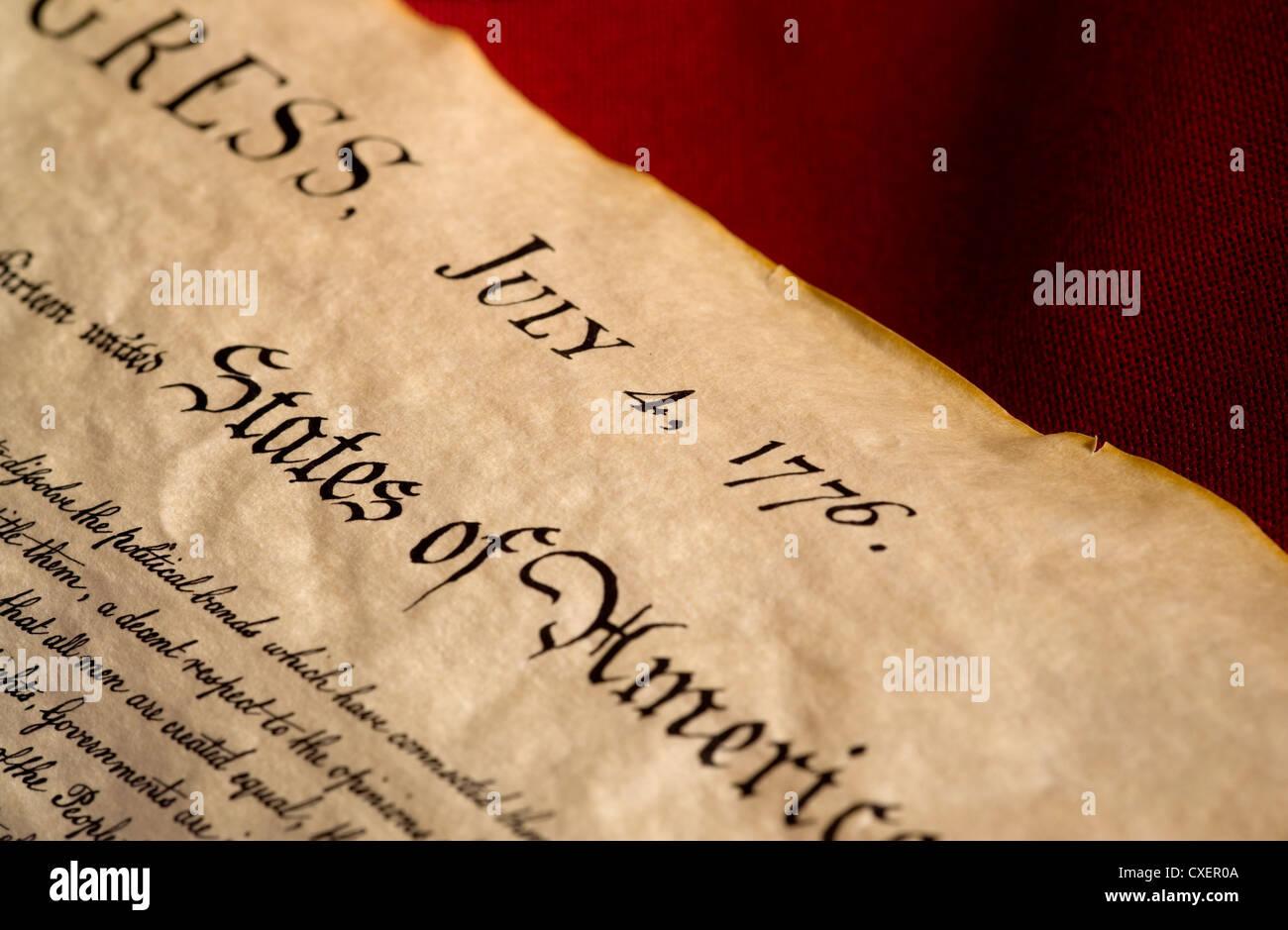 United States Declaration of Independence document - Stock Image